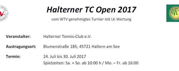 Ausschreibung zur Halterner TC Open 2017