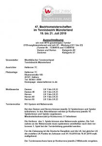 47. Bezirksmeisterschaften Münsterland 2019 @ Halterner TC | Haltern am See | Nordrhein-Westfalen | Deutschland